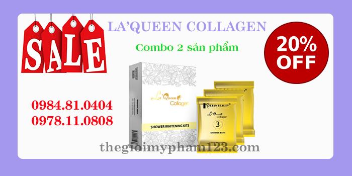 Combo 2 sản phẩm Tắm trắng toàn thân La'Queen Collagen