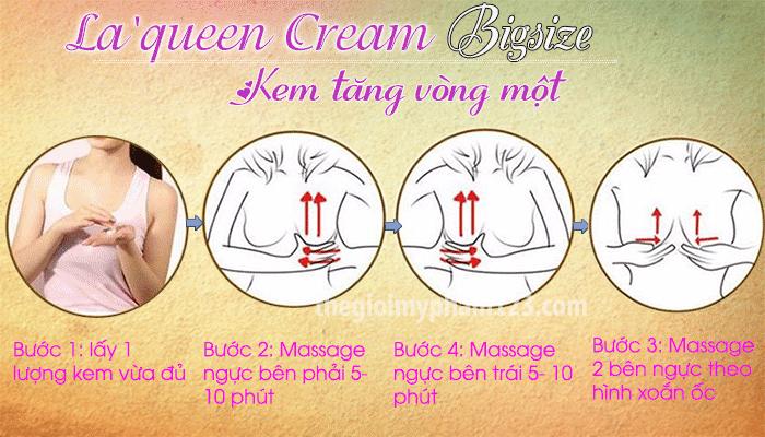 Hướng dẫn sử dụng La'queen Cream Bigsize