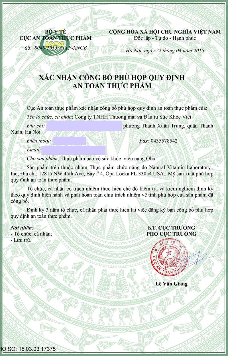 giấy phép giảm cân olix