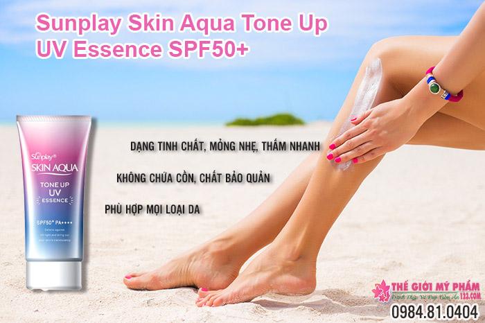 ưu điểm của Sunplay Skin Aqua Tone Up UV Essence SPF50+ PA++++