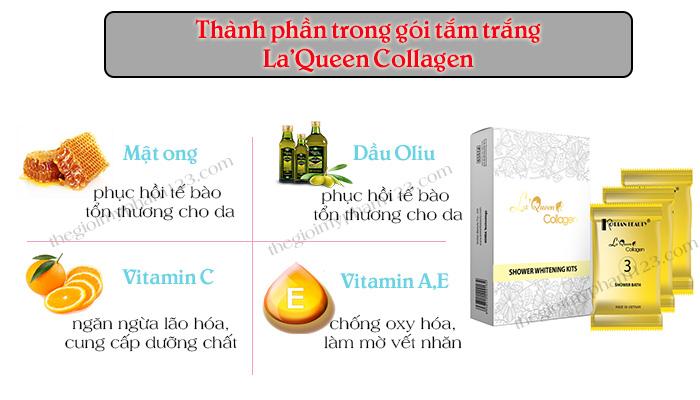 Thành phần gói tắm trắng toàn thân La'queen collagen